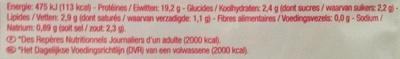 Jambon sans couenne - Nutrition facts - fr