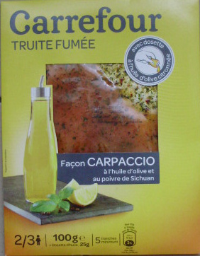 Truite fumée façon Carpaccio à l'huile d'olive et au poivre de Sichuan (5 tranches) - 100 g - Produit - fr