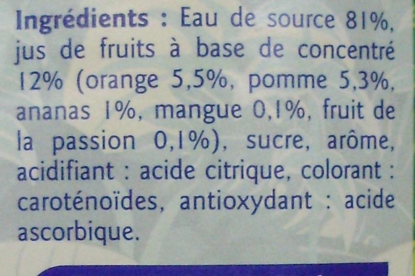 Boisson aux fruits Saveur Tropical - Ingrédients - fr
