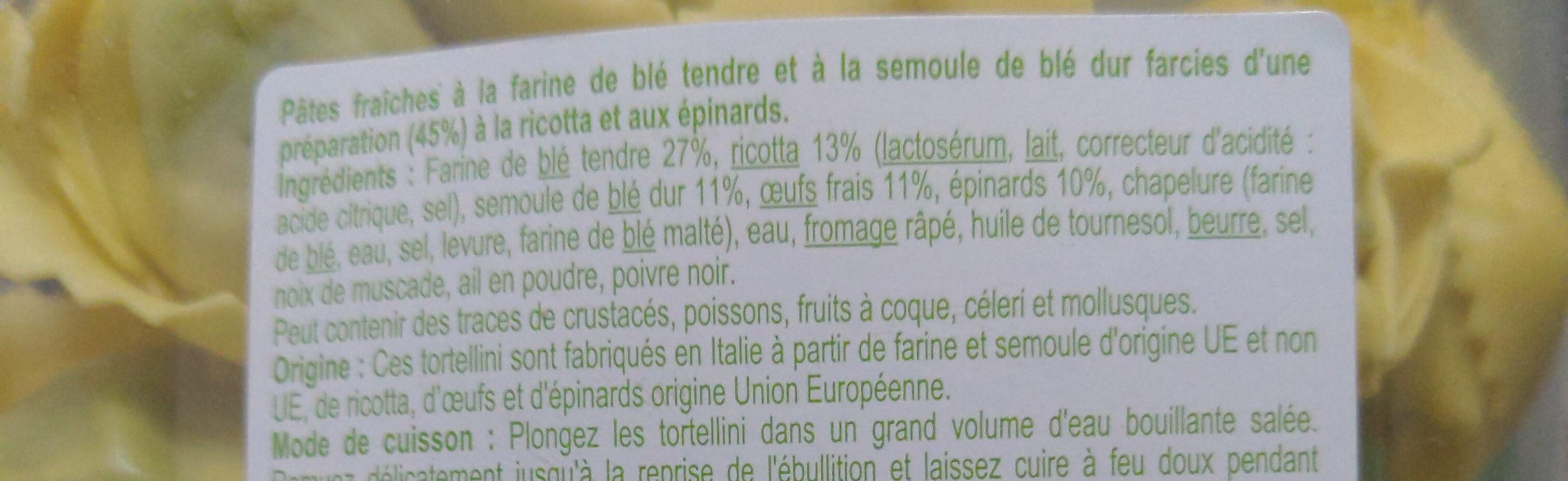 Tortellini ricotta épinard - Ingrediënten - fr