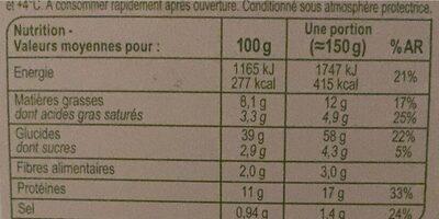 Tortellini ricotta épinard - Voedingswaarden - fr