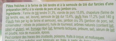 Tortellini au Jambon Cru aux oeufs frais - Ingrédients - fr