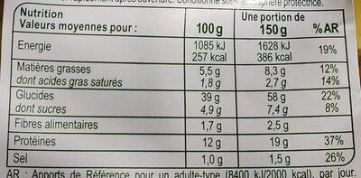 Tortellini au Jambon Cru aux oeufs frais - Informations nutritionnelles - fr