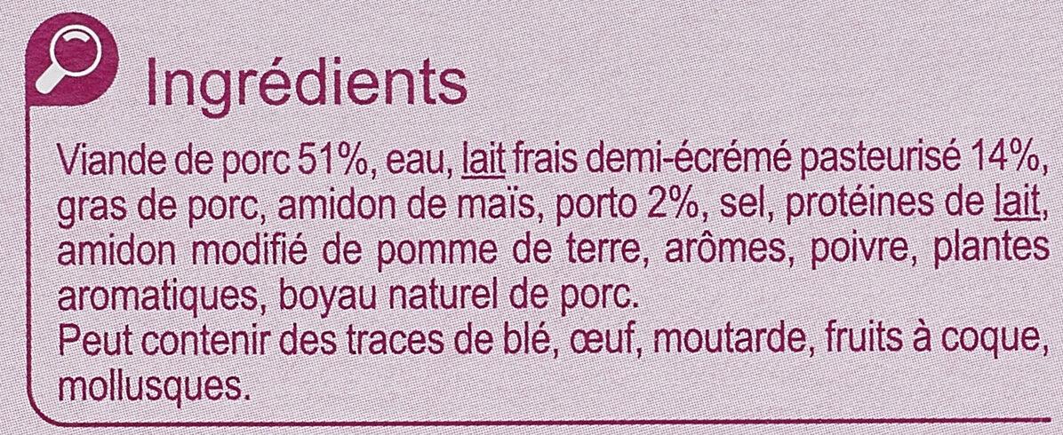 Boudins Blancs au  Porto - Ingrédients - fr