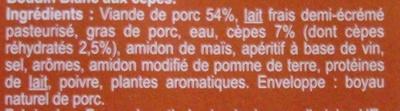Boudins blancs aux  Cèpes - Ingrédients - fr