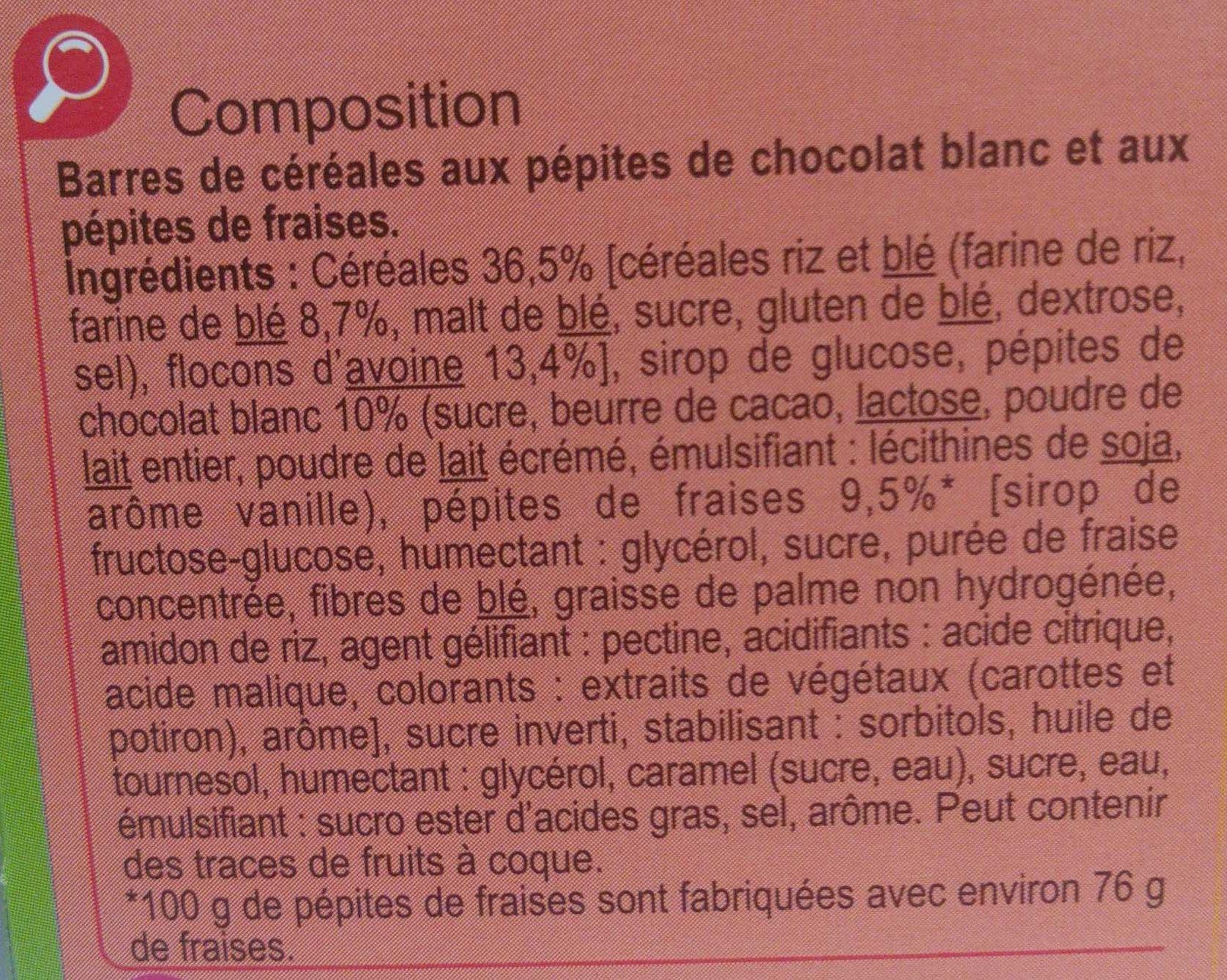 Barres céréales fraise chocolat blanc - Ingrédients - fr