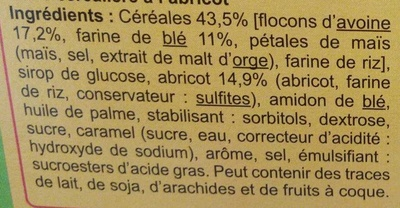 Barritas de cereales Albaricoque - Ingredients