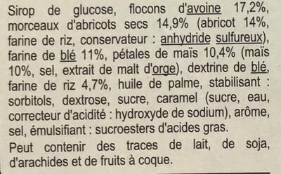 Barres Céréales Abricot - Ingredients - fr