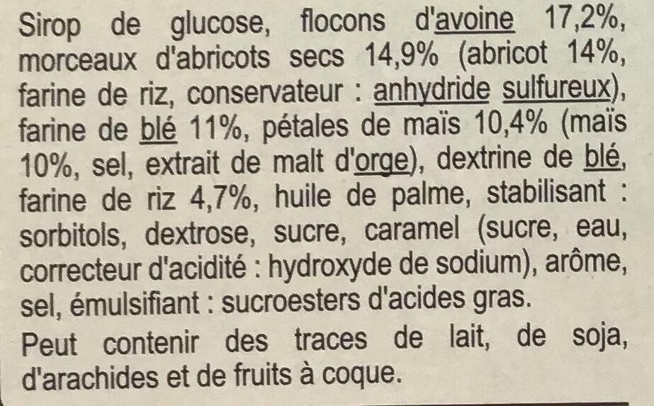 Barres Céréales Abricot - Ingredientes - fr