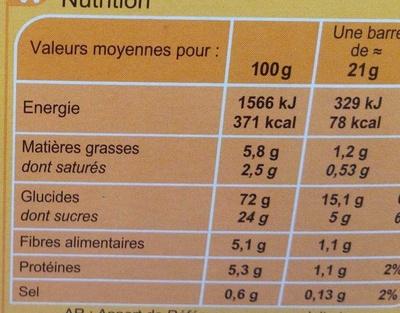 Barritas de cereales Albaricoque - Informació nutricional