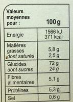Barres Céréales Abricot - Informació nutricional