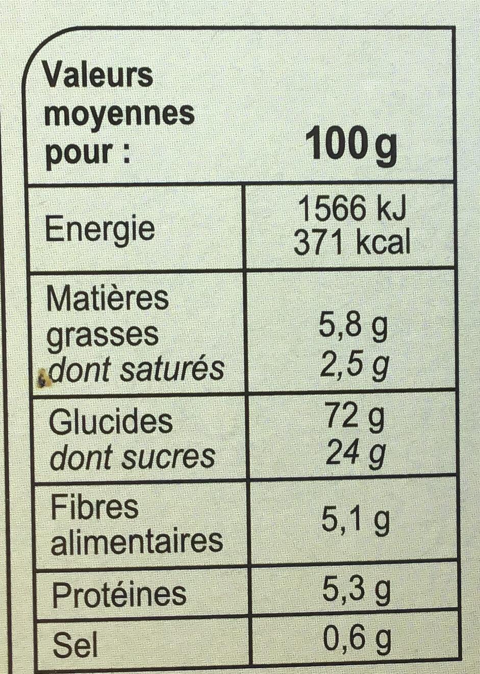 Barres Céréales Abricot - Información nutricional - fr