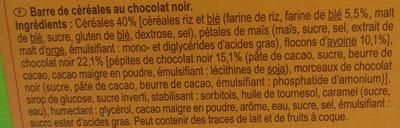 Barres céréales chocolat noir - Ingrédients