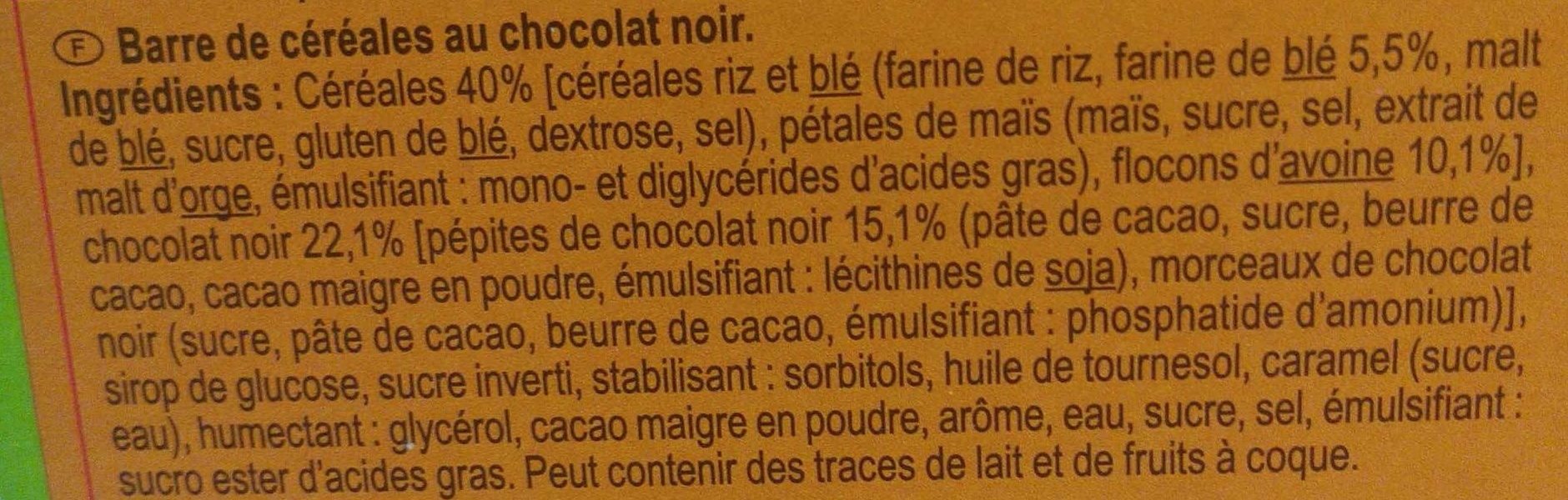 Barres céréales chocolat noir - Ingrédients - fr