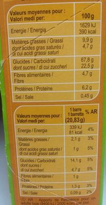 Barres céréales chocolat noir - Informations nutritionnelles