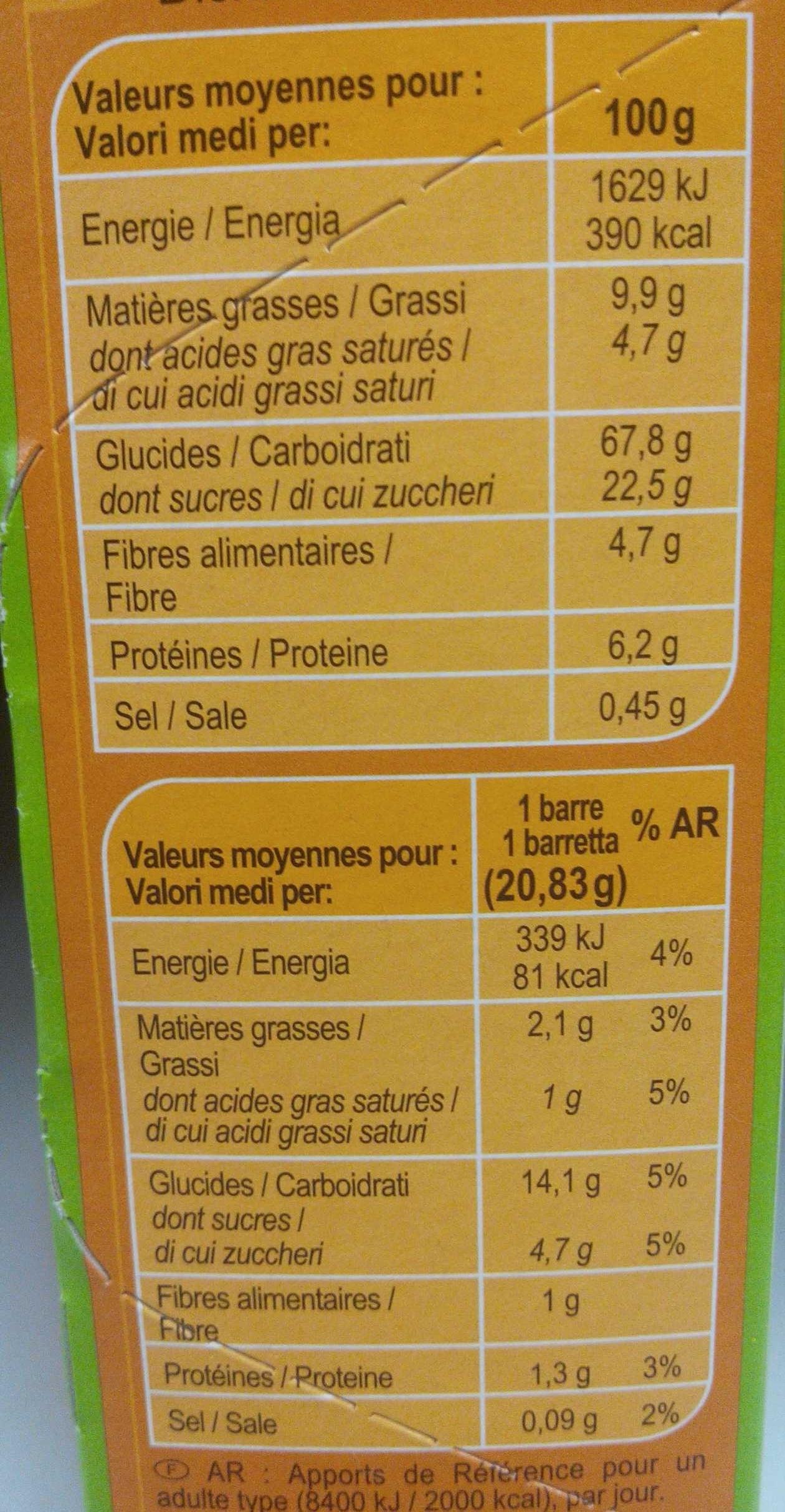 Barres céréales chocolat noir - Informations nutritionnelles - fr