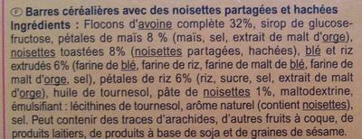 Barritas de cereales Avellanas - Ingredientes