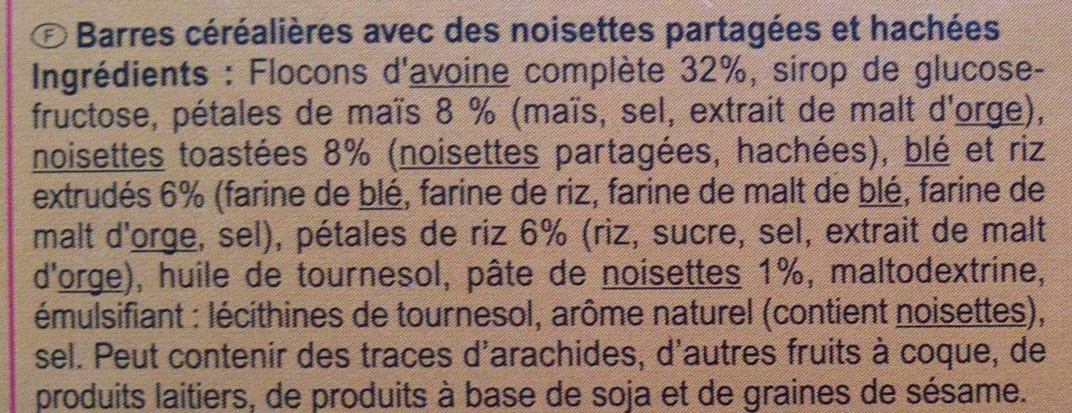 Barres céréales noisette - Ingredientes - fr