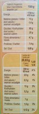 Barritas de cereales Avellanas - Información nutricional