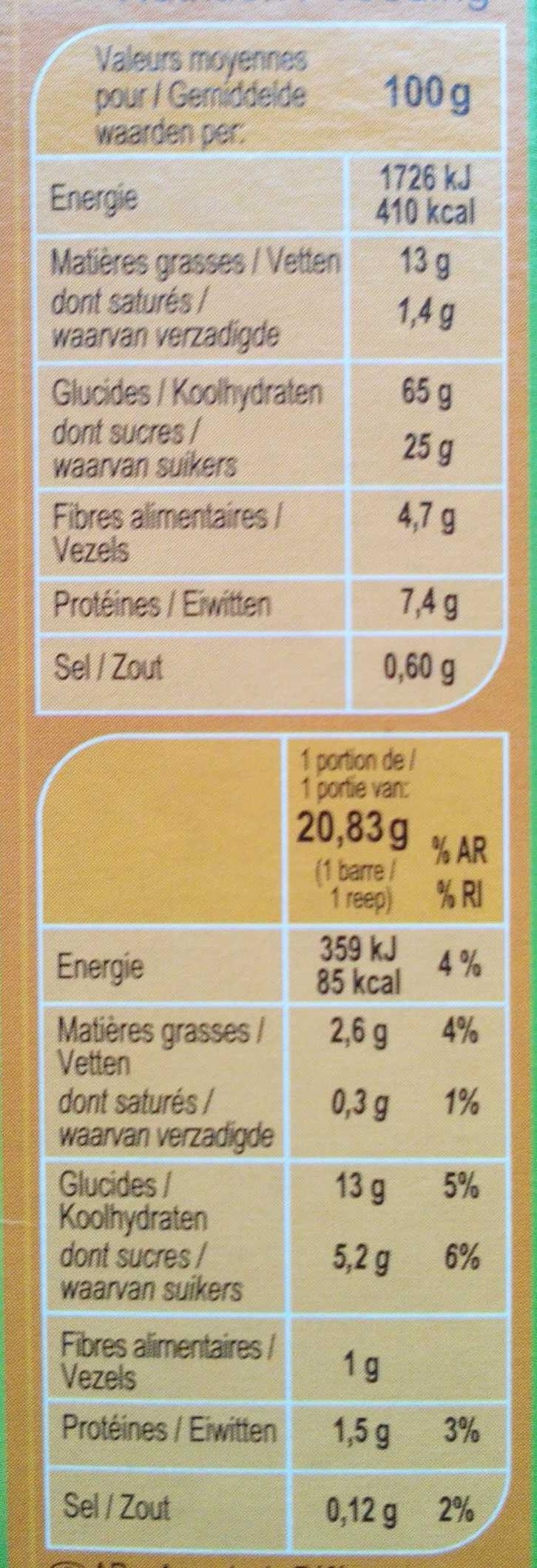 Barritas de cereales Avellanas - Informació nutricional
