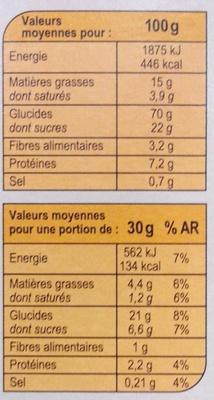 X'trem coeur fondant spéculoos - Nutrition facts