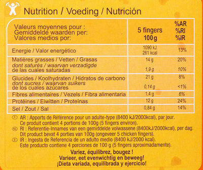 Fingers de poulet - Nutrition facts - fr