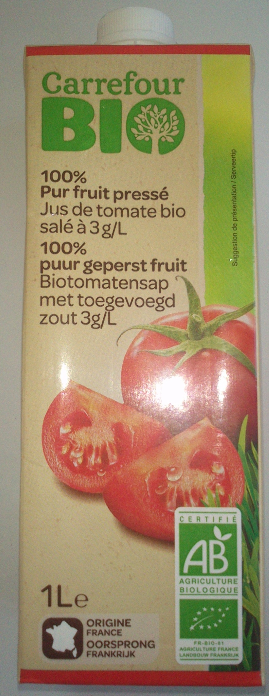 100 % Pur fruit pressé, Jus de tomate bio salé à 3 g/l - Product - fr