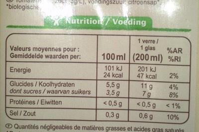 100 % Pur fruit pressé, Jus de tomate bio salé à 3 g/l - Informations nutritionnelles - fr