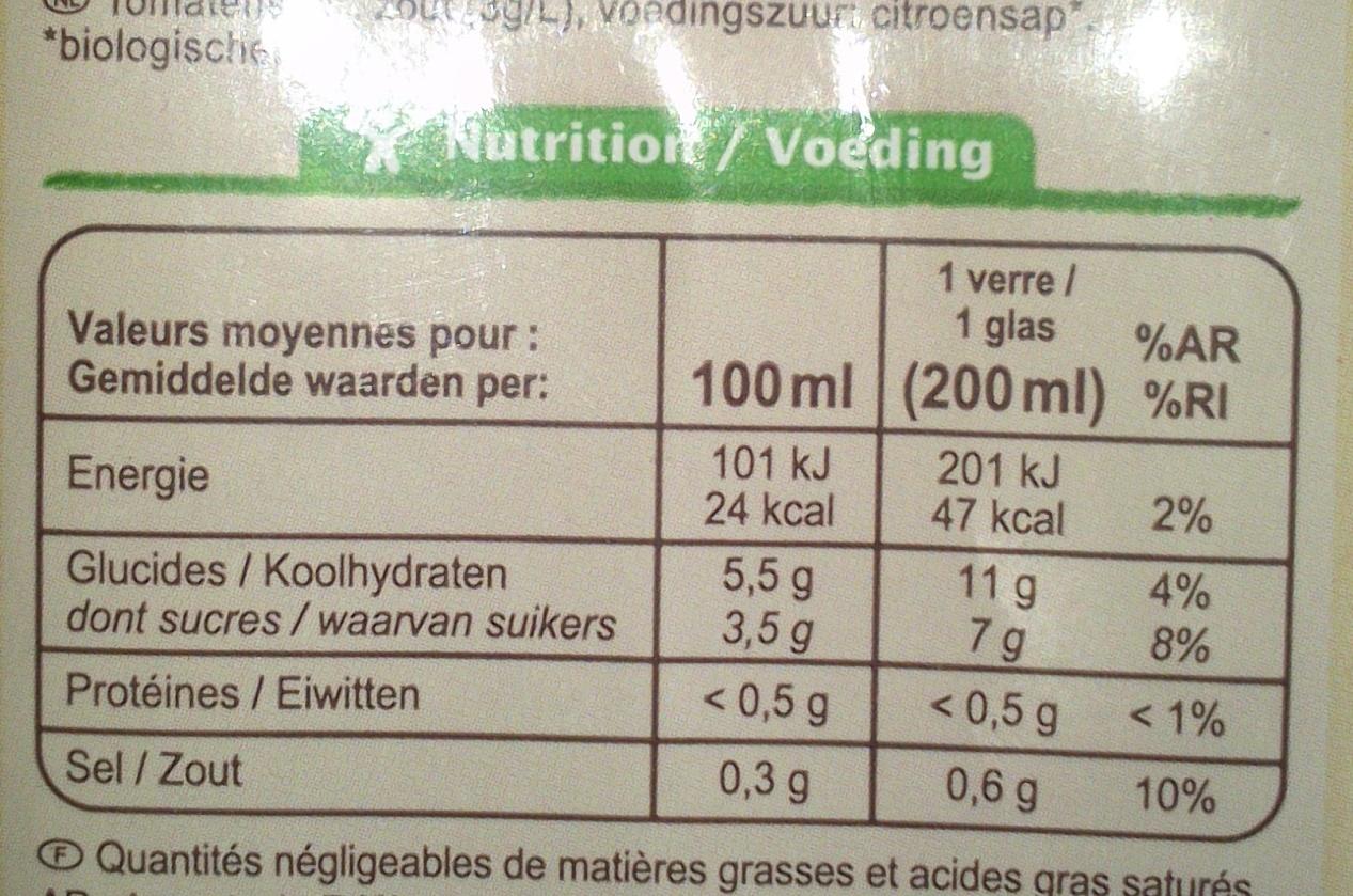 100 % Pur fruit pressé, Jus de tomate bio salé à 3 g/l - Voedingswaarden - fr