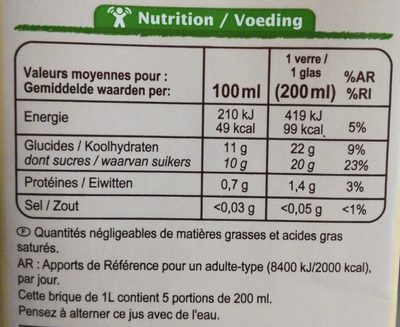 100% Pur jus pressé, Jus d'orange bio - Nutrition facts