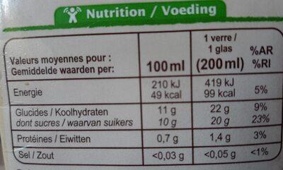 Jus d'orange bio 100% pur fruits pressé - Informations nutritionnelles - fr