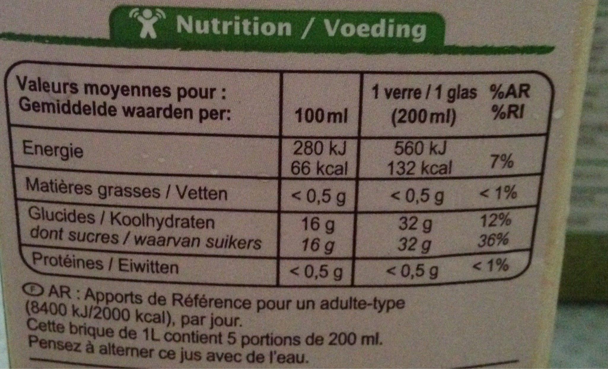 100 % pur fruit pressé, Jus de raisin bio - Voedingswaarden - fr