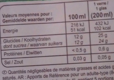 Jus Multifruits Bio 100% Purs Fruits Pressés - Voedingswaarden - fr