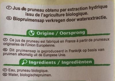 Jus de pruneau bio - Ingredienti - fr
