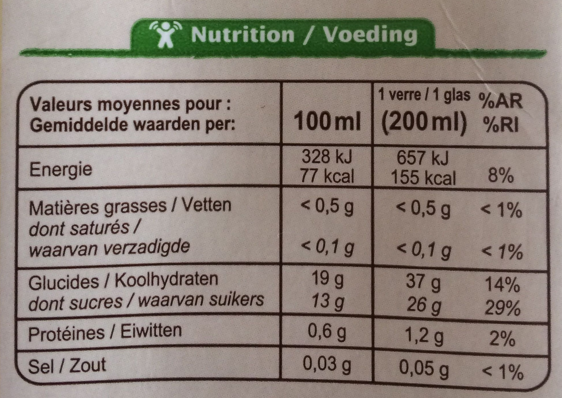 Jus de pruneau bio - Nutrition facts