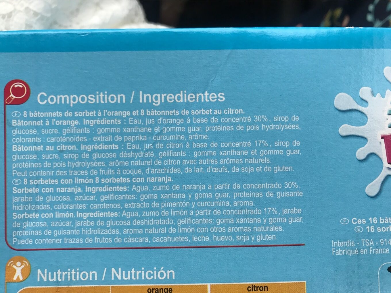 Ice Bat - Nutrition facts - fr