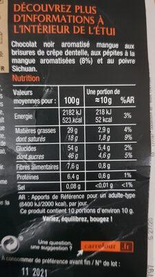 NOIR Saveur Mangue & Poivre Sichuan - Informations nutritionnelles - fr