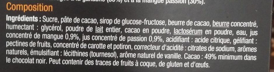 Noir Fourré Mangue & Passion - Ingrédients - fr