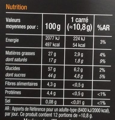 Noir Fourré Mangue & Passion - Informations nutritionnelles - fr