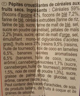 Carrefour Crunchy Muesli croustillant 5 Fruits secs - Ingredients