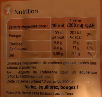 Thé Glacé saveur Pêche - Informations nutritionnelles - fr