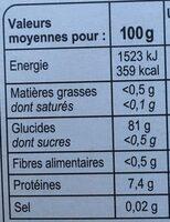 Riz Long Grain - Informazioni nutrizionali - fr
