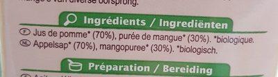 100% Purs Fruits Pressés Jus de Pomme et de Mangue Bio - Ingrediënten