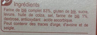 Biscottes à la farine complète - Ingrédients