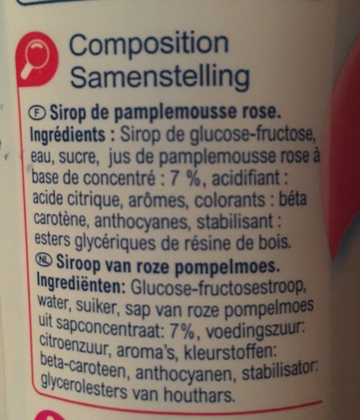 Sirop Pamplemousse Rose - Ingredienti - fr
