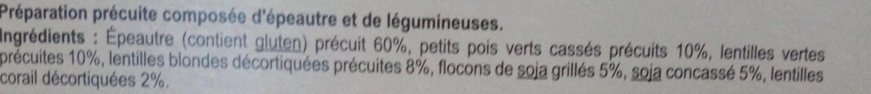 Nos Mélanges Gourmands - Épeautre, Petits Pois, Lentilles Vertes, Soja, Lentilles Blondes, Lentilles Corail - Ingredientes