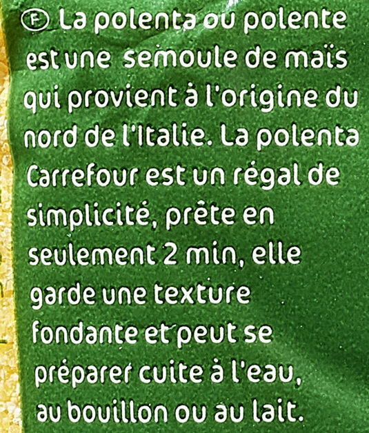 Polenta - Ingrédients - fr