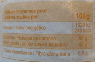 Confiture abricots - Información nutricional - fr