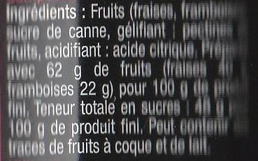 Fraises Framboises - Ingrédients