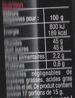 Fraises Framboises - Informations nutritionnelles